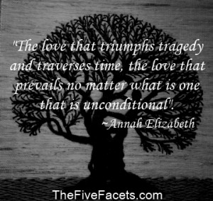 Love that traverses tragedy and time quote on Tree of life