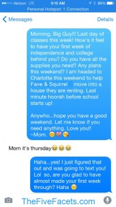 Text...Mom it's Thursday!