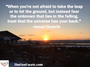 When you're not afraid to take the leap or to hit the ground, trust the universe quote Annah Elizabeth