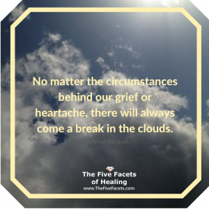 No matter the circumstances behind our grief or heartache, there will always come a break in the clouds Annah Elizabeth Quote